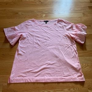 J.crew: Pink T-shirt with ruffle sleeves